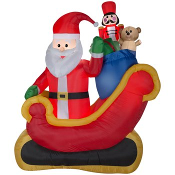 Gemmy Airblown Inflatable Santa Sleigh w/Gifts Scene 7.5ft Tall