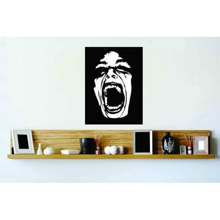 Wide Open Mouth Horror Screaming Face Vinyl Wall Decal Peel & Stick Sticker Home Halloween Party Decoration Kids - Halloween Face Paint Wide Mouth