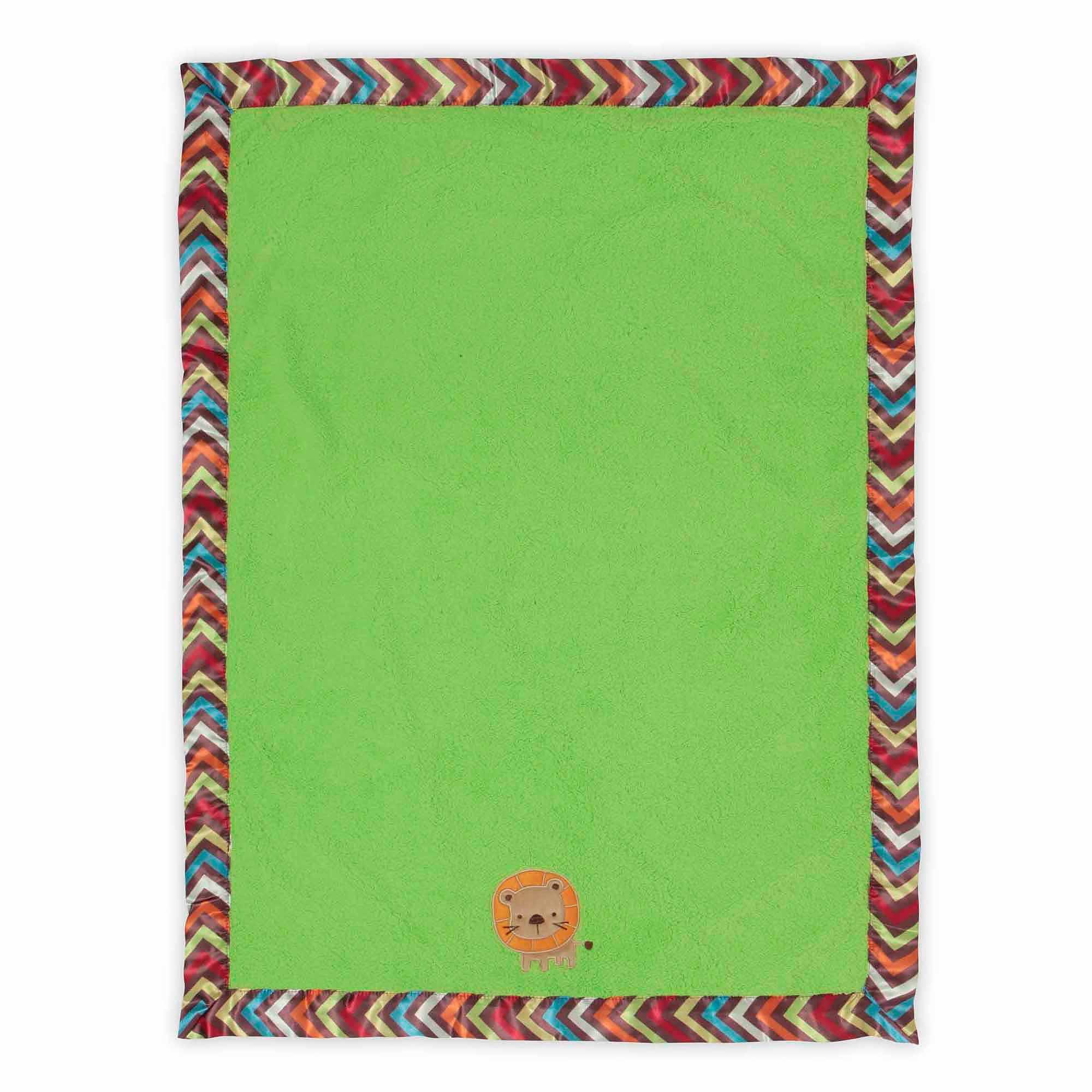 Bananafish Studio Lion Satin Trim Plush Blanket - Green
