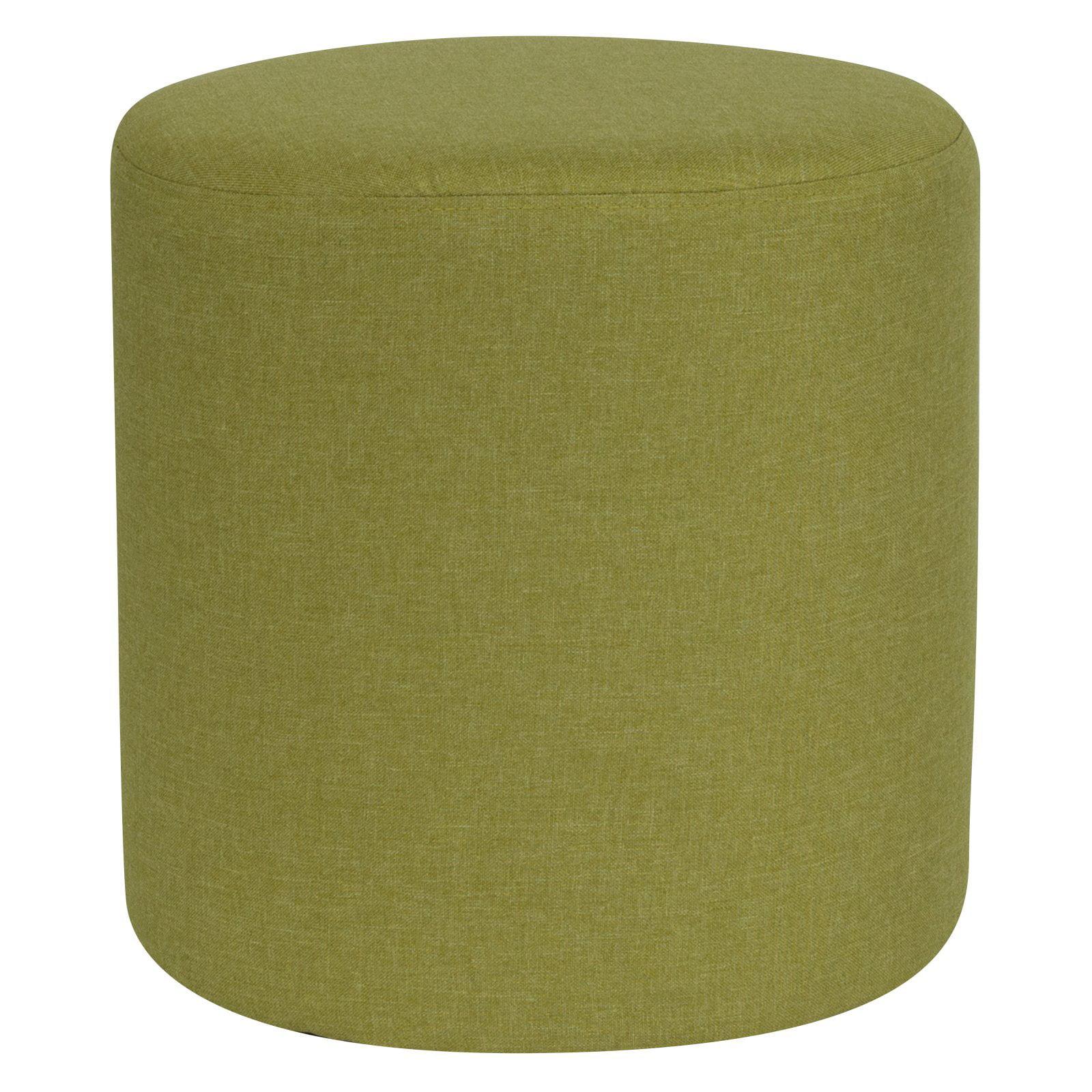 Flash Furniture Barrington Upholstered Round Ottoman Pouf in Purple Fabric