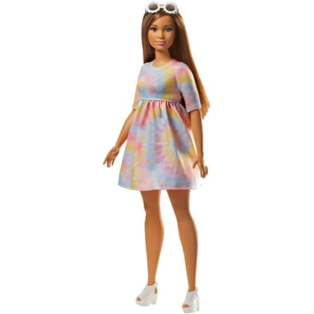 Barbie Fashionistas Doll, Curvy Body Type Wearing Tie Dye Dress - Broken Doll Dress