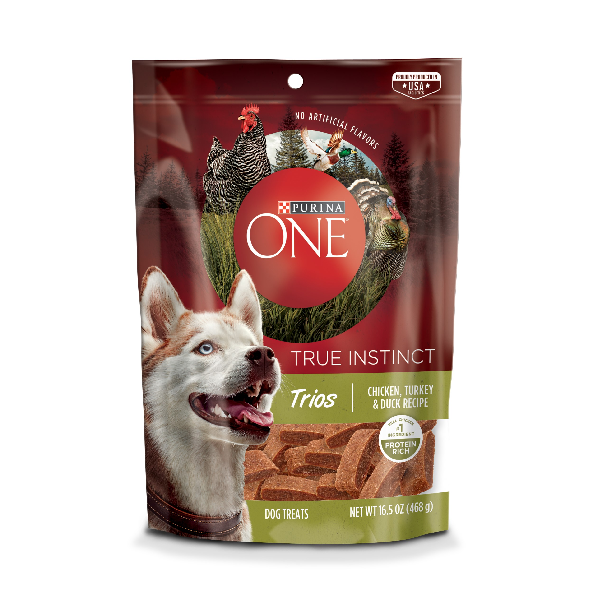 Purina ONE True Instinct Trios Chicken, Turkey & Duck Recipe Dog Treats, 16.5 oz. Pouch