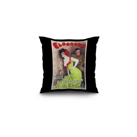 Eldorado   Quest   Ce Qui Se Passe  Vintage Poster  Artist  Redon  France C  1905  16X16 Spun Polyester Pillow  Black Border