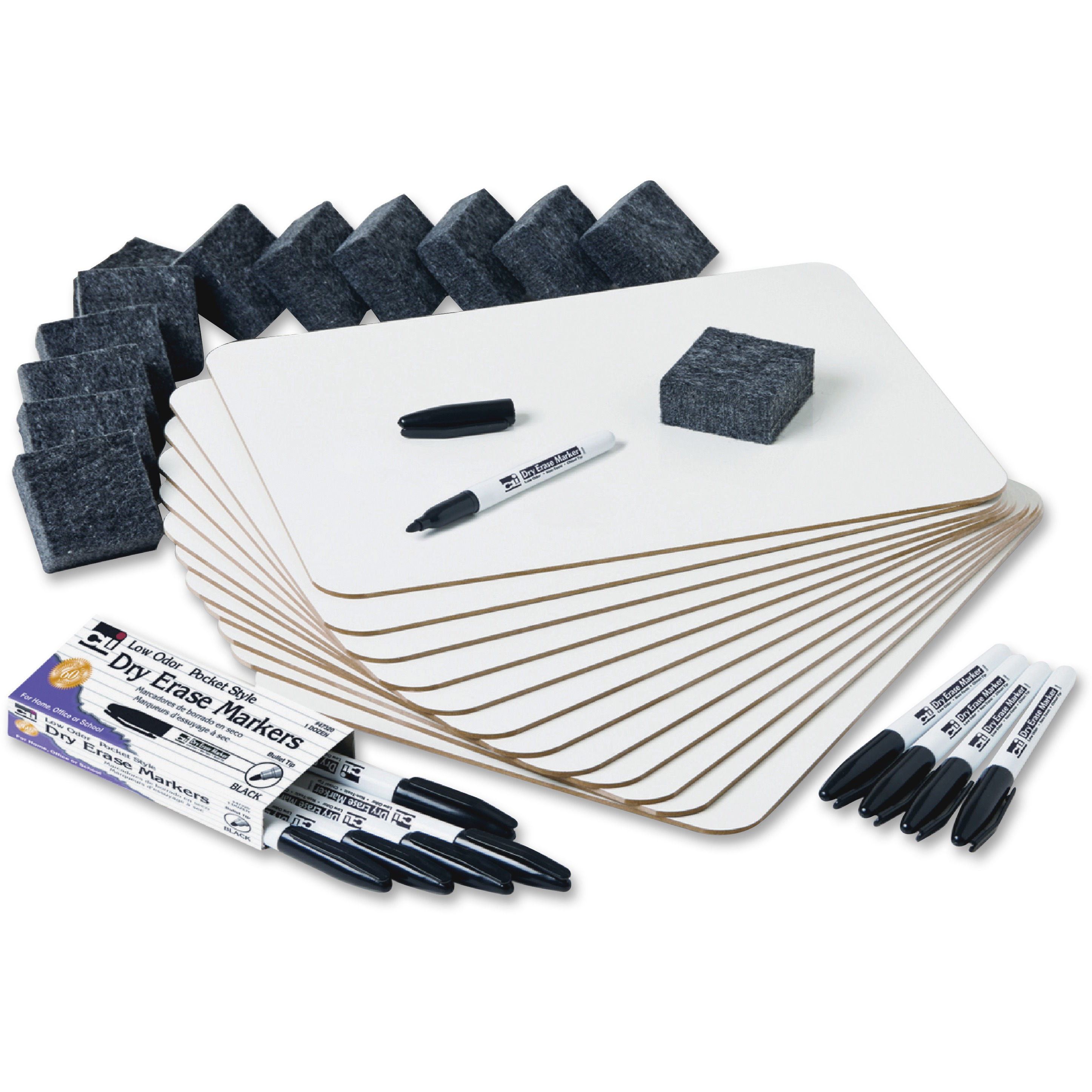 "Charles Leonard Dry Erase Lapboard Class Pack includes 12 Each: One Sided- Plain, White Dry Erase Boards, 2x2"" Felt Erasers & Low Odor, Black AP Certified Dry Erase Markers 36 Pieces/Box (35036)"