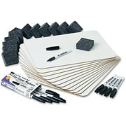 """Charles Leonard Dry Erase Lapboard Class Pack includes 12 Each: One Sided- Plain, White Dry Erase Boards, 2x2"""" Felt Erasers & Low Odor, Black AP Certified Dry Erase Markers 36 Pieces/Box (35036)"""
