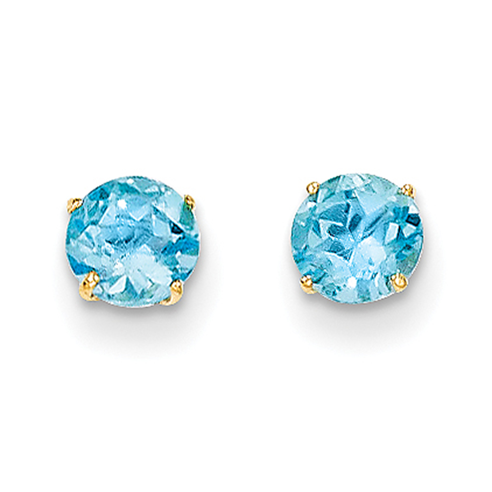 Lex & Lu 14k Yellow Gold Madi K Round Blue Topaz 5mm Post Earrings