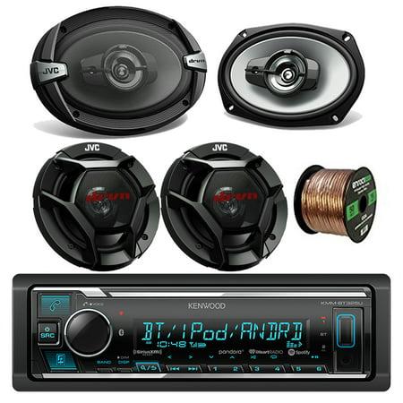 kenwood kmmbt322u car stereo bluetooth digital receiver bundle combo with 2x jvc cs-dr6930 6x9
