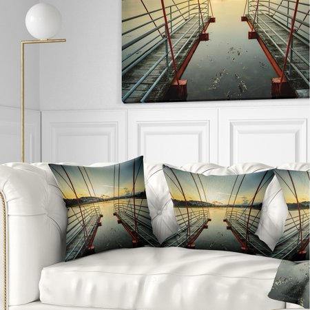 DESIGN ART Designart 'Wooden Piers for Boats in Spain' Seashore Photo Throw Pillow ()