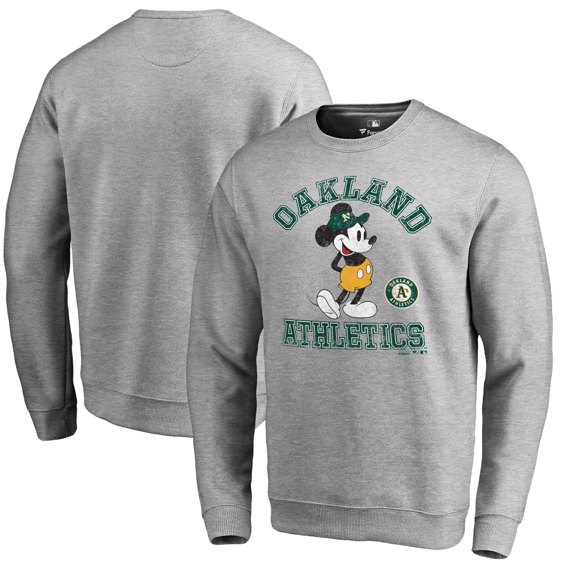Oakland Athletics Fanatics Branded Disney MLB Tradition Pullover Sweatshirt - Heathered Gray