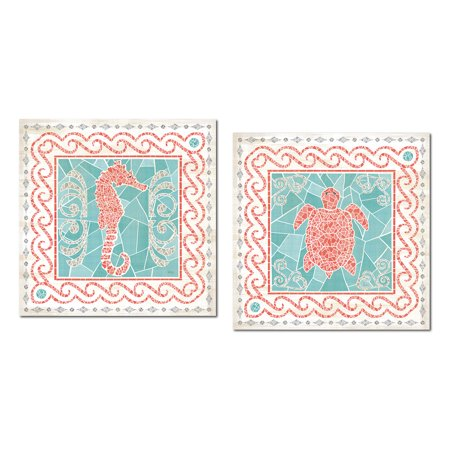 Beautiful Coral, Teal and Cream Mosaic Seahorse and Turtle Set by Veronique Charron; Coastal Decor; Two 12x12in Unframed Paper Posters - Mosaic Turtle