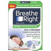 Breathe Right Nasal Strips, Extra Clear for Sensitive Skin 10 ea (Pack of 3)