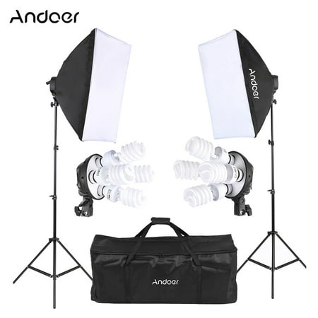 - Andoer Studio Photo Lighting Kit with 2 * Softbox / 2 * 4in1 Bulb Socket / 8 * 45W Bulb / 2 * Light Stand / 1 * Carrying Bag