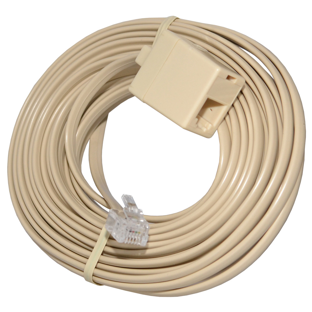 High Quality Telephone Line Cord Heavy Duty 4 Conductor Cable with Extension Coupler 25 Ft. - Ivory