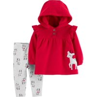 Child of Mine by Carter's Baby Girls Holiday Long Sleeve Cardigan and Pant Set, 2 pc set
