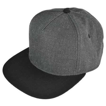 cc1c503316fb6 DALIX Premium 5 Panel Wool Blend Hat Flat Bill Cap Snapback (Dark Gray Black)  - Walmart.com