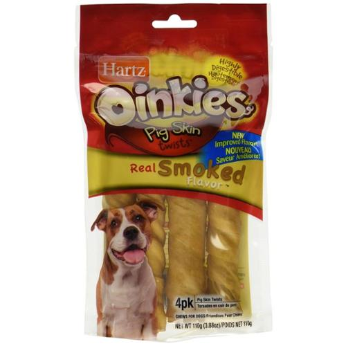 Hartz Oinkies Pig Skin Twists Treats, Real Smoked Flavor 4 ea (Pack of 4)