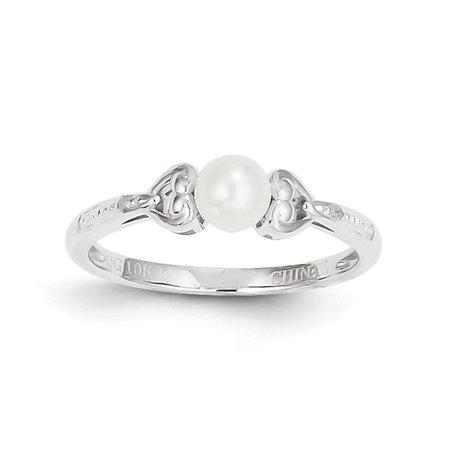 White Pearl 10k Ladies Ring (10k White Gold FW Cultured Pearl Diamond Ring 10XB29 )