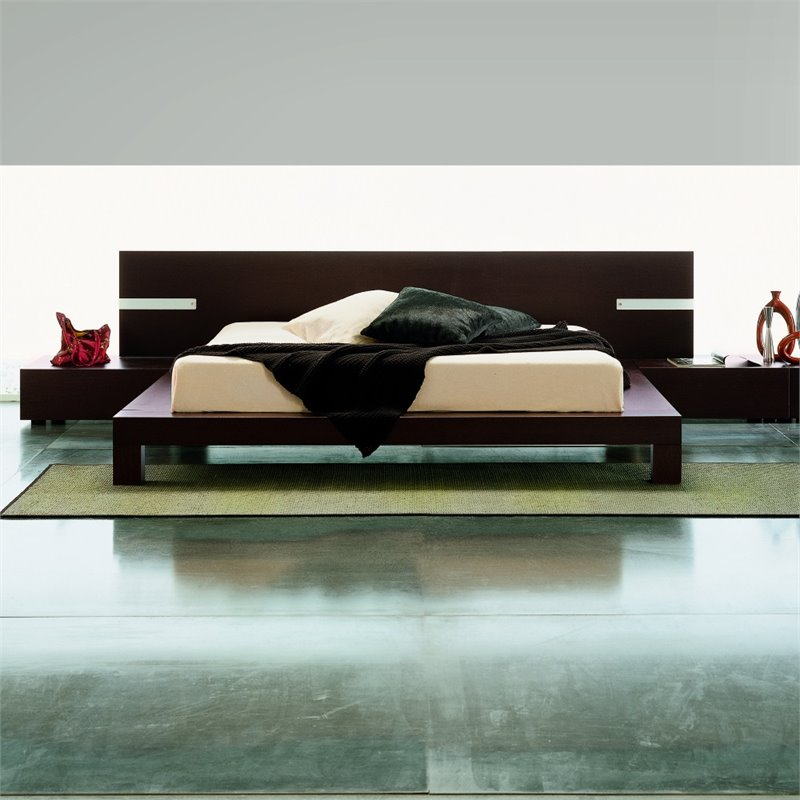 Rossetto New Win Queen Panel Bed with Lights in Wenge