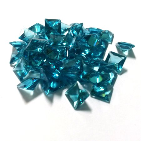 50 PCS - Blue Square 8mm x 8mm Resin Faceted Crystal Cabochon Rhinestone Finding C0792