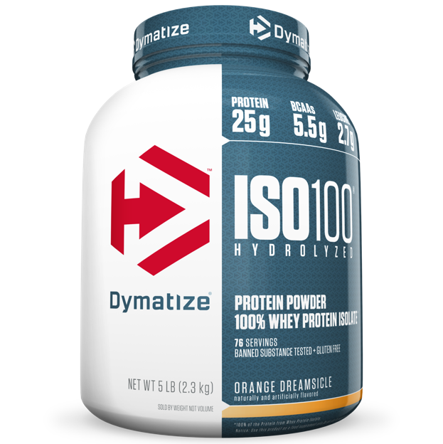 Dymatize ISO 100 Hydrolyzed 100% Whey Protein Isolate Powder, Orange Dreamsicle, 25g Protein/Serving, 5 Lb