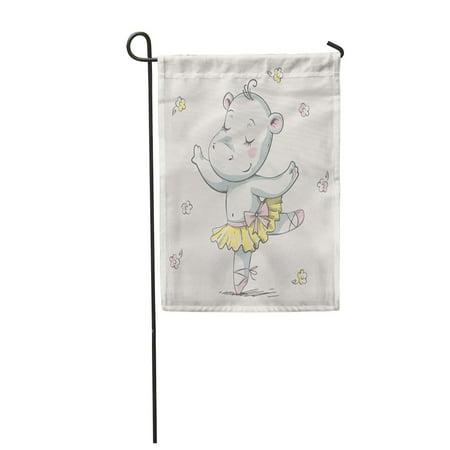LADDKE Cute Baby Hippo Ballerina Dancing Cartoon Vector Illustration Can Be Garden Flag Decorative Flag House Banner 28x40 inch](Fantasia Hippo Ballerina)