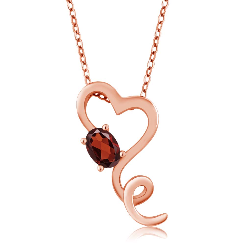 0.55 Ct Oval Red Garnet Gold Plated Sterling Silver Pendant