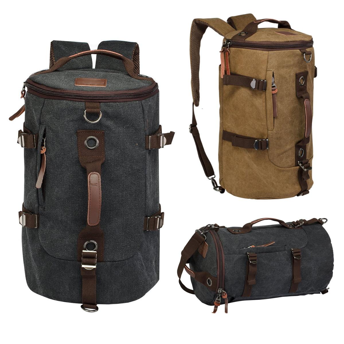 092232997d LUXUR Retro Duffel 30L Cylinder Bag Canvas Travel Backpack Hiking Shoulder  Handbag - Walmart.com