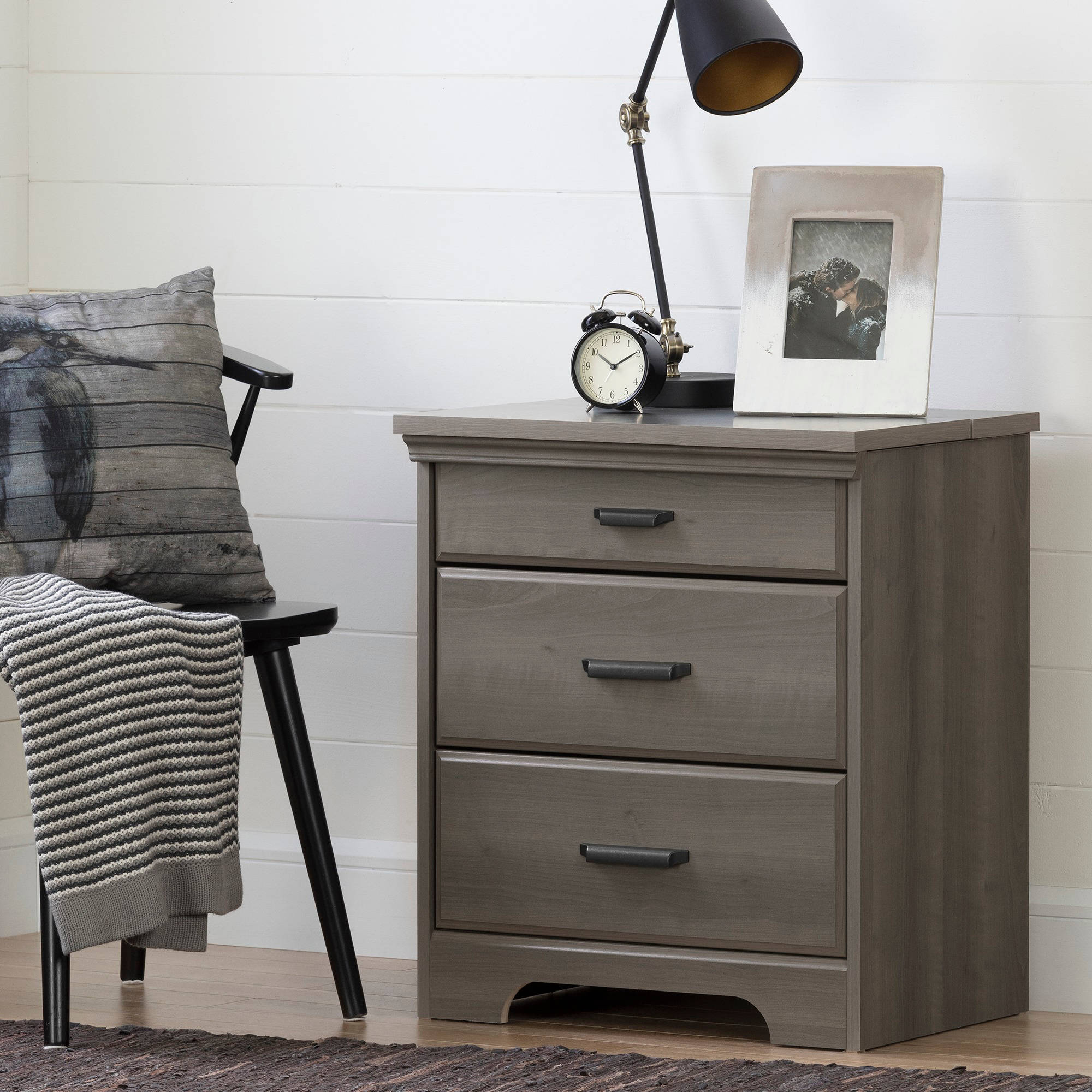 Awesome South Shore Versa Nightstand With Charging Station And Drawers, Multiple  Finishes