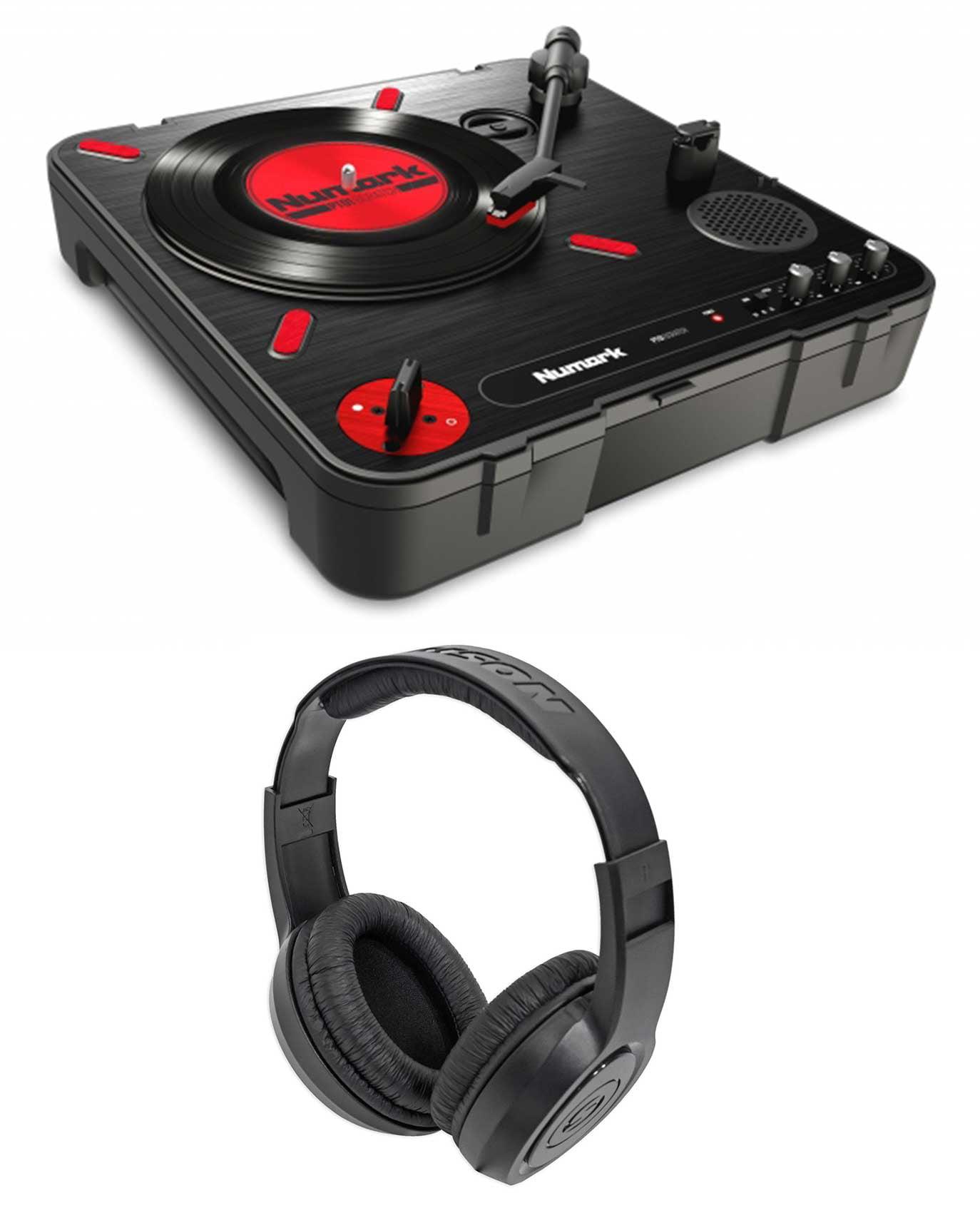Numark PT01 Scratch DJ Turntable w/ USB/AUX/RCA+Speaker+Samson Headphones