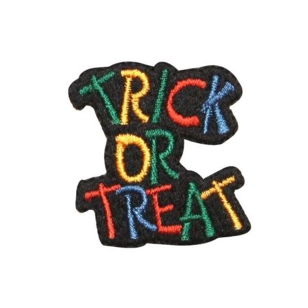 ID 0836A Trick Or Treat Patch Halloween Bag Sign Embroidered Iron On Applique - Tricks On Halloween