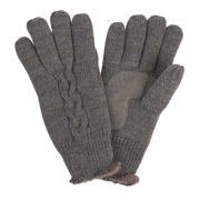 Isotoner Womens Gray Cable Knit Gloves with Soft Microluxe Lining