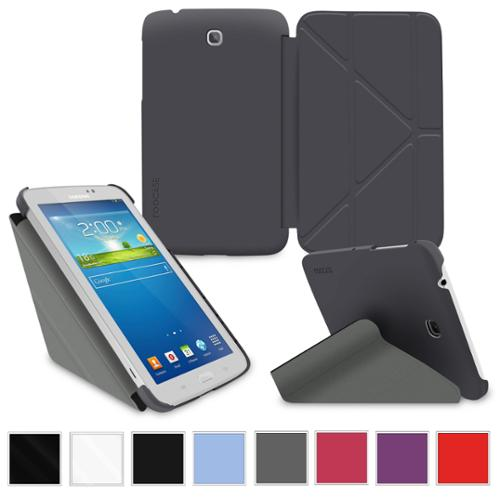 """rooCASE Samsung Galaxy Tab 3 7.0 Case - Slim Shell Origami Stand Tablet 7-Inch 7"""" Cover with Landscape, Portrait, Typing Stand - GRAY"""