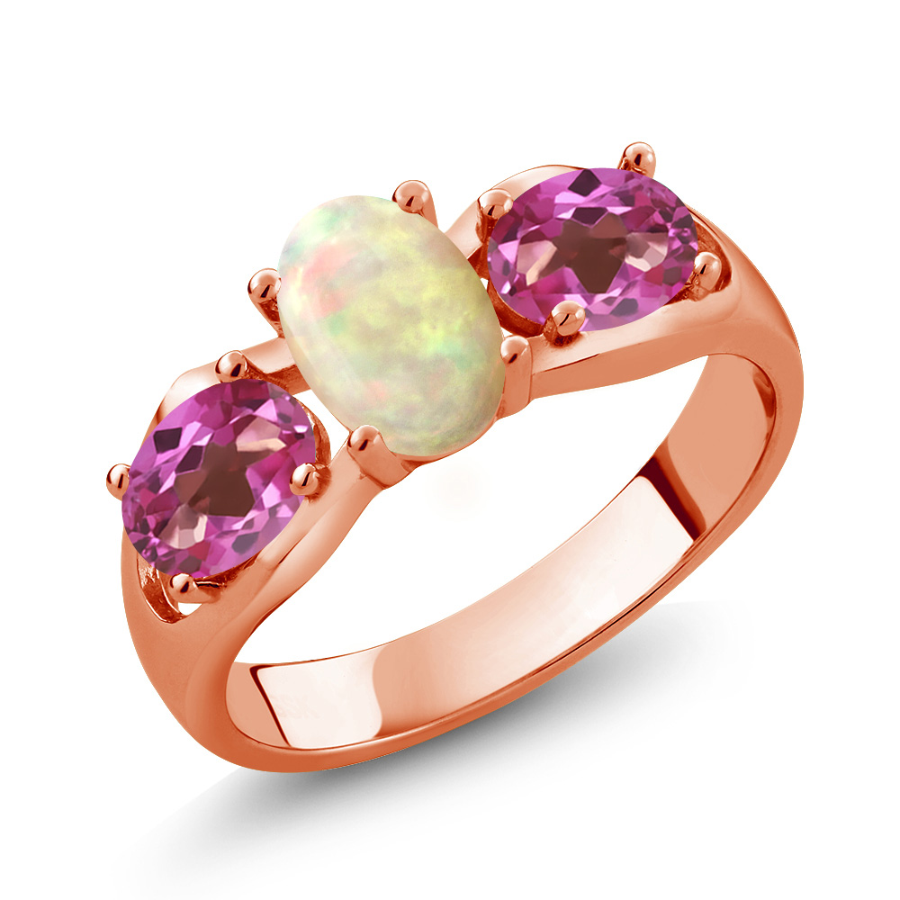 1.51 Ct Oval Cabochon White Ethiopian Opal Pink Mystic Topaz 18K Rose Gold Ring by