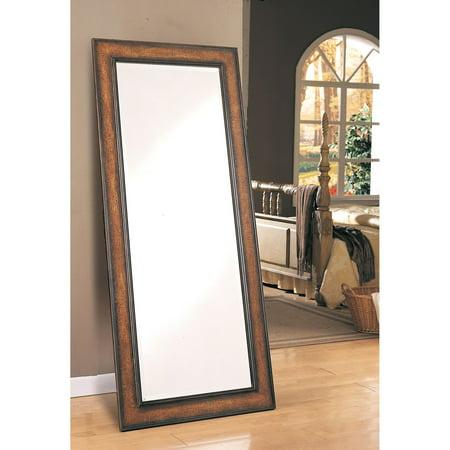 Coaster Floor Mirror, Antique Brown Finish