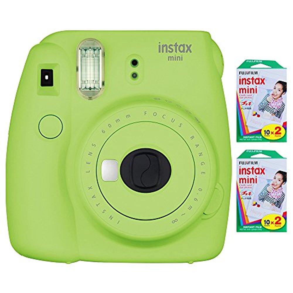 FujiFilm instax mini 9 Instant Film Camera (Lime Green) + instax mini Film (40 SHeets) by Fujifilm