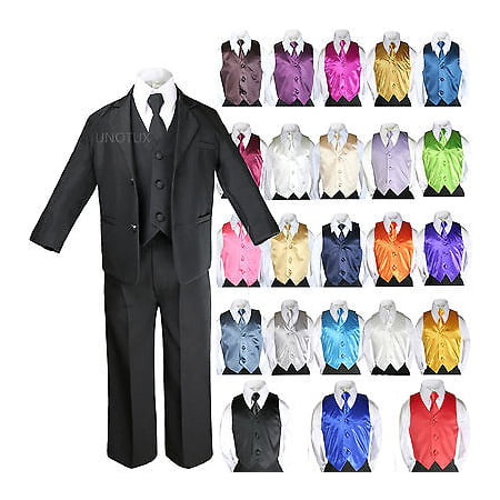 7pcs Baby Boy Teen Formal Wedding Party Black Tuxedo Suits Vest Necktie Set S-20 - Pink Tuxedo