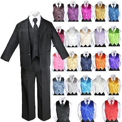 7pcs Baby Boy Teen Formal Wedding Party Black Tuxedo Suits Vest Necktie Set S-20](Boys Tuxedo)