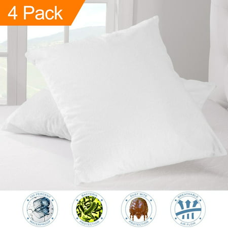 4 Pack Premium Pillow Protector - 100% Waterproof - Vinyl Free Hypoallergenic - 10 Year Warranty - (Standard Size, Pack of 4)