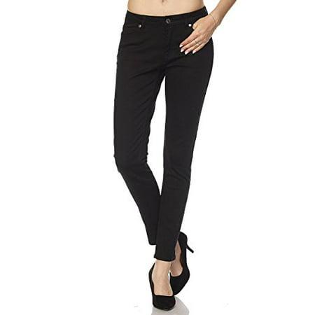 Womens Stretch Twill Pants - StylesILove Women Stretch Cotton Twill 5 Pocket Cotton Skinny Pants (1, Black)
