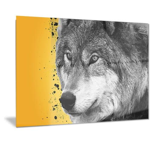 Design Art Metal 'Gazing Wolf' Graphic Art