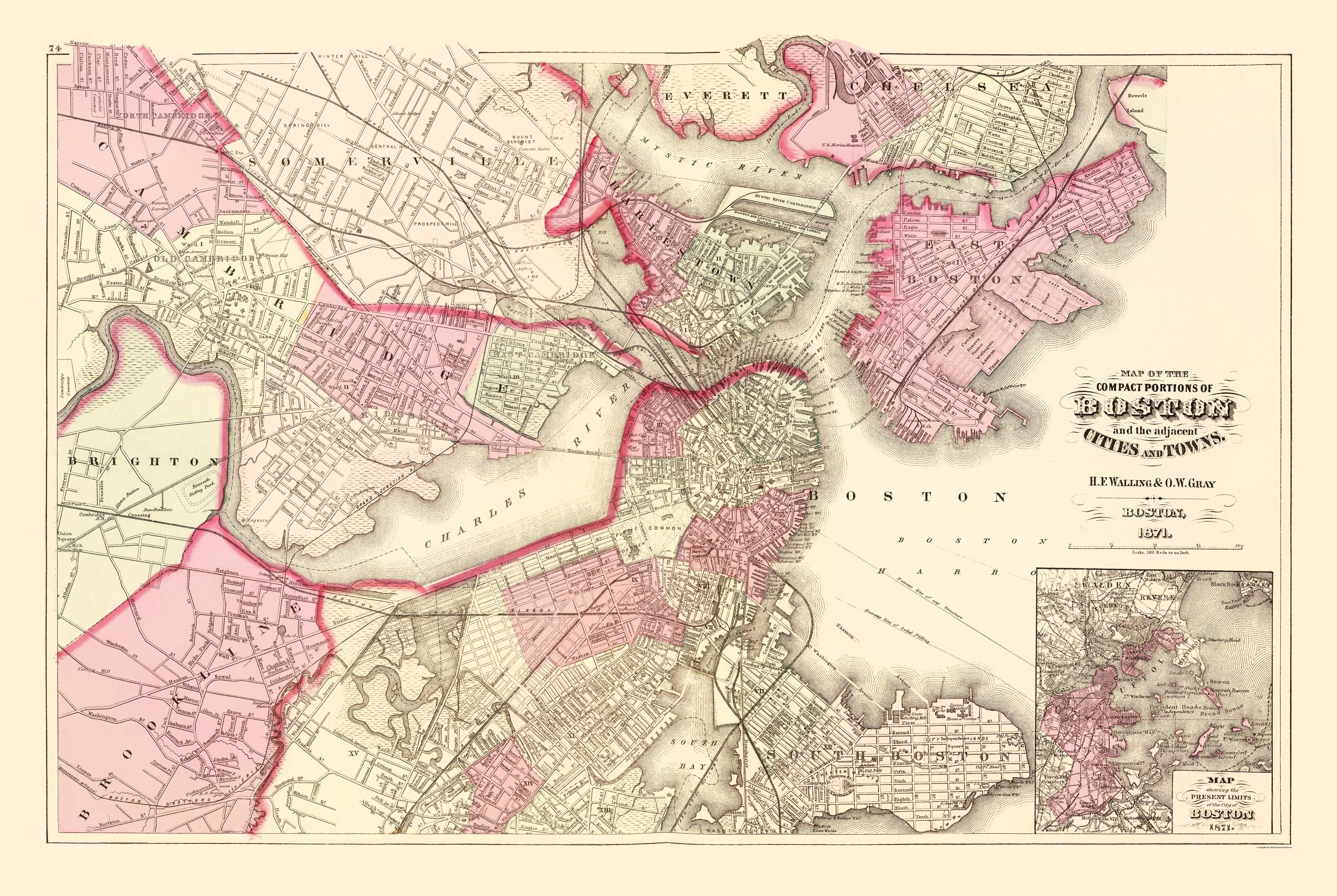 Old City Map - Boston Machusetts - Walling 1871 - 23 x 34.30 Map Boston Machusetts on new england map, mass map, philly map, michigan map, fenway park map, texas map, charles town map, lexington map, america map, u.s. state map, united states map, ma map, phoenix map, mississippi map, massachusetts map, freedom trail map, pennsylvania map, ny map, usa map, cambridge map,