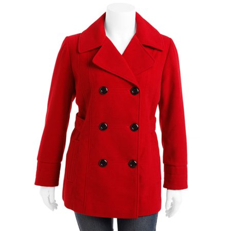 9dd8c95a3bf7d George - George - Women s Plus-Size Double-Breasted Pea Coat - Walmart.com