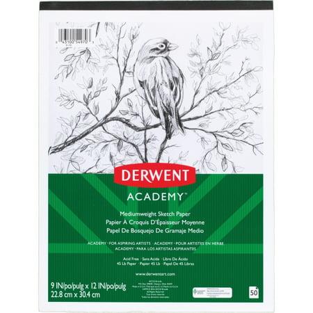 Derwent Academy Mediumweight Sketch Paper Pad, 50 Sheets, 9