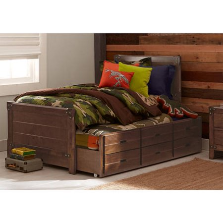 Better Homes Gardens Union Station Twin Captain Bed Trundle Rustic Cherry