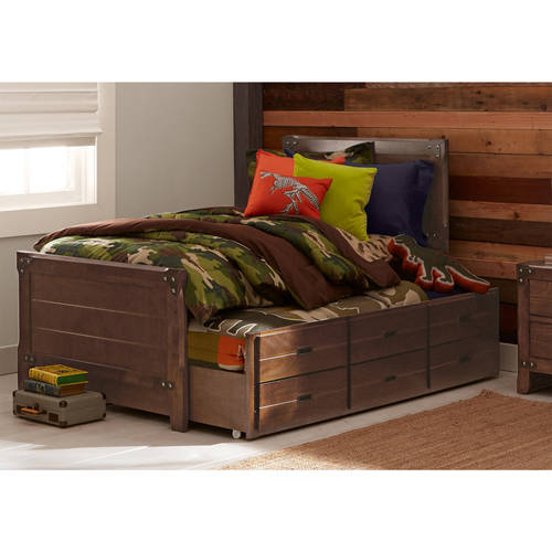 better homes and gardens union station twin bed with trundle rustic cherry - Twin Captains Bed
