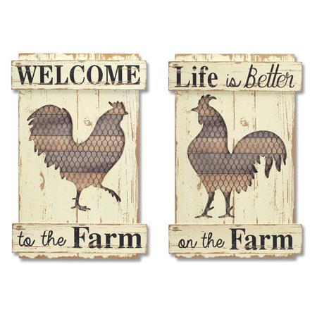 Melrose International Rooster Cut Out Wall Plaque - Set of 2 (Wall Cut Outs)