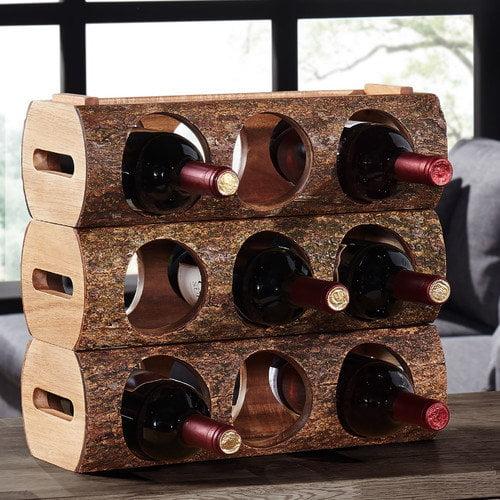 Danya B Stackable Three Bottle Wine Holder Log