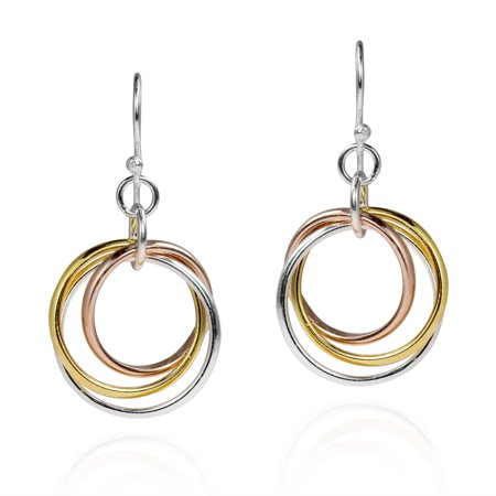 Tri Color Earrings (Trendy Tri Color Hoop .925 Sterling Silver Dangle Earrings )