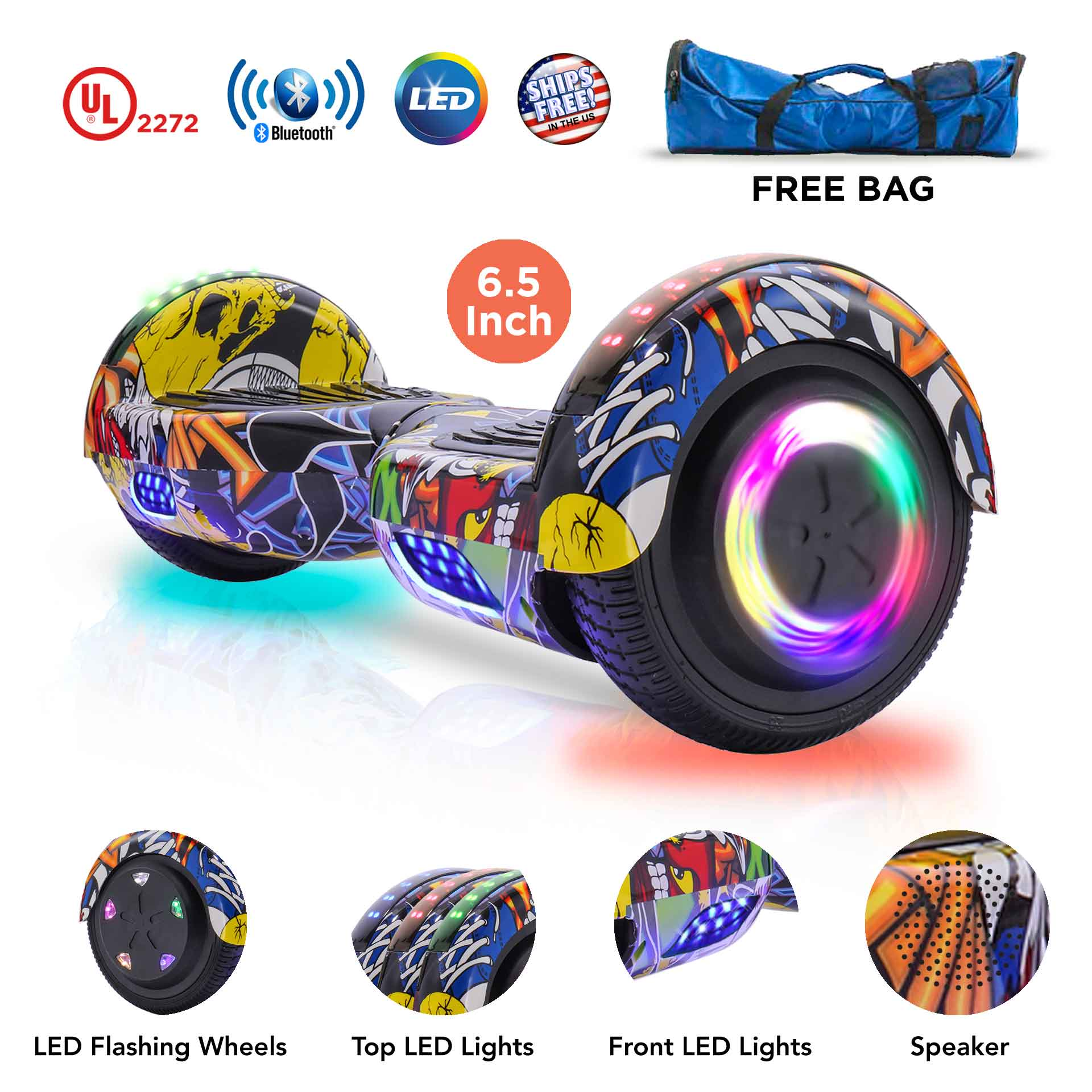"EverGrow Graffiti Hoverboard with Bluetooth and LED Lights 6.5"" 2 Wheels Self Balancing Electric Scooter Board, FREE BAG (WHEELS-UC6.5-GRAFFITI)"