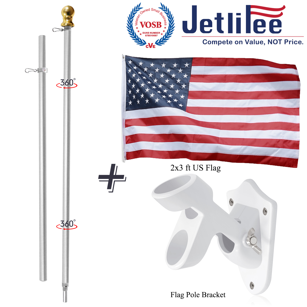 6FT Tangle-Free Spinning Flag Pole Durable Aluminum Wall Mount Flagpole Holder